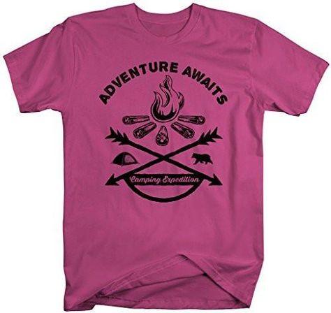 69103c02e Shirts By Sarah Men's Adventure Awaits Camping T-Shirt Bonfire Expedition  Shirts