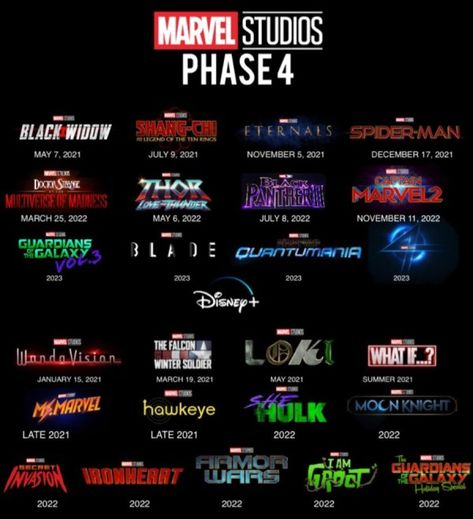 Marvel Cinematic Universe Phase 4 Release Schedule