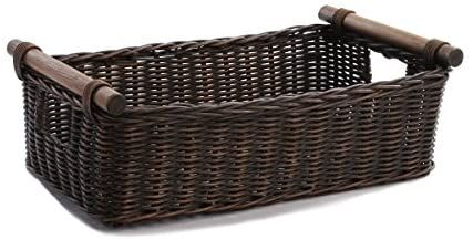 Amazon Com The Basket Lady Low Pole Handle Wicker Storage Basket Medium 17 In L X 10 5 In W X 5 5 In H Antiqu In 2020 Wicker Baskets Storage Storage Baskets Basket