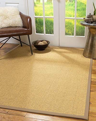 Natural Area Rugs 100 Natural Fiber Handmade Niagara Beige Sisal Rug 12 X 18 Wheat Border In 2020 Brown Area Rugs Area Rugs Beige Area Rugs