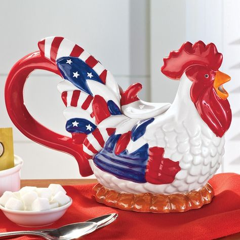 Red White and Blue Rooster Patriotic Teapot