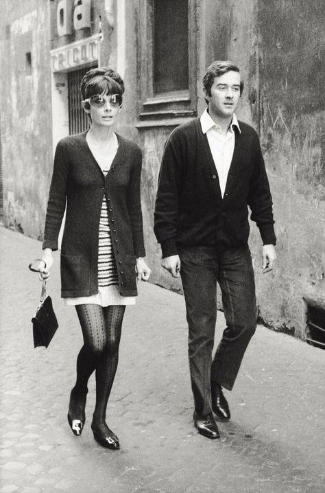 1970: New Love - Audrey walks alongside her husband, psychiatrist Andrea Dotti, in Rome