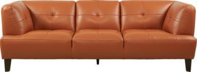 Villa Capri Orange Leather Sofa   Furniture   Orange leather ...