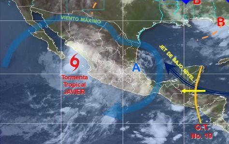 """De acuerdo a los reportes del Servicio Meteorológico Nacional (SMN) La circulación de la tormenta tropical """"Javier"""", favorecerá potencial de…"""