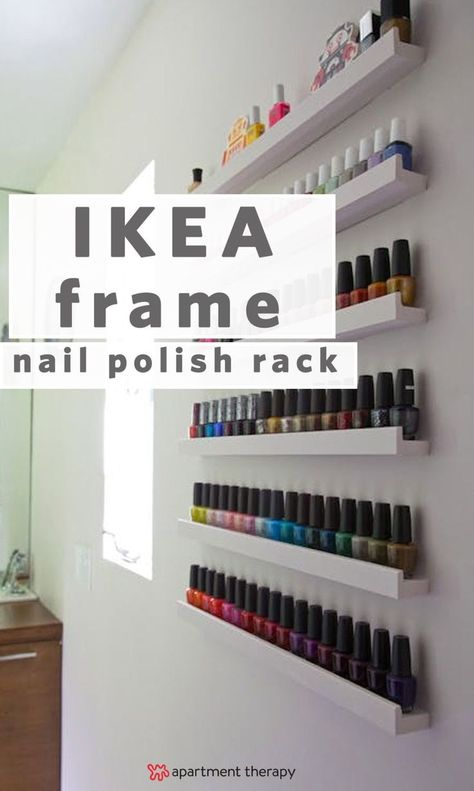 20 ways to use IKEA's RIBBA Picture Ledge throughout the house | This iKEA DIY nail ...  #house #ledge #picture #ribba #throughout