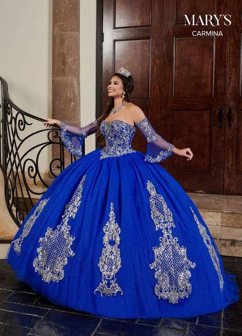 Quincenera Dresses Blue, Mexican Quinceanera Dresses, Mexican Dresses, Royal Blue Dresses, Blue Wedding Dresses, Royal Blue Gown, Quinceanera Themes, Blue Ball Gowns, Ball Dresses