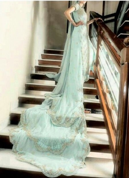 Mint green wedding dress with long tail | Wedding Must Haves ...