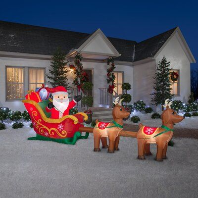 The Holiday Aisle Santa And Sleigh Lighted Display Outdoor Holiday Decor Holiday Decor Christmas Decorations Bedroom