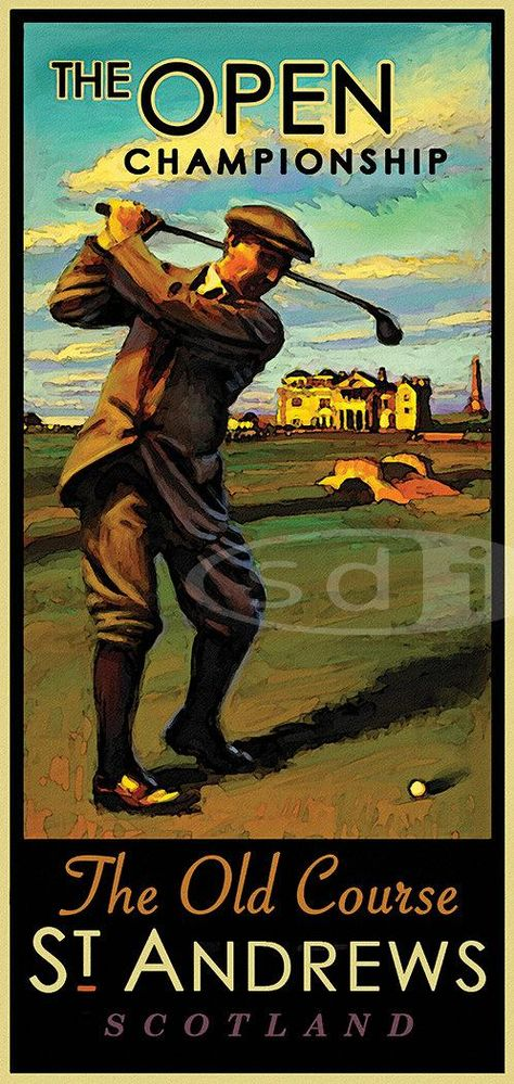 The Open British Open St Andrews Old Course Golf Art Golf Gift Sports Poster Print Painting Golf Art British Open Golf Poster