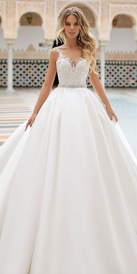 Magbridal Delicate Tulle & Satin Scoop Neckline A-Linie Brautkleid mit Spitze,  #ALinie #Brautkleid #Delicate #Hochzeitskleider #Magbridal #mit #Neckline #Satin #Scoop #Spitze #Tulle