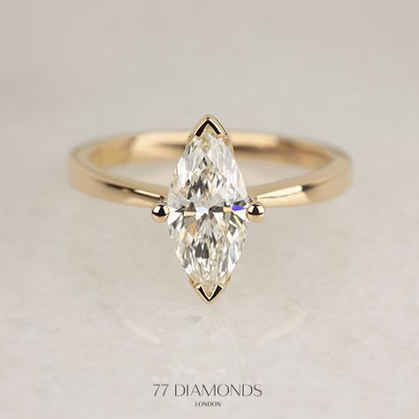 The Delicacy engagement ring in flattering rose gold set with a Marquise cut diamond. #proposal #love