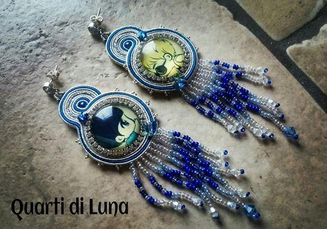 In love, orecchini in soutache con cabochon in vetro Quarti di Luna 2016