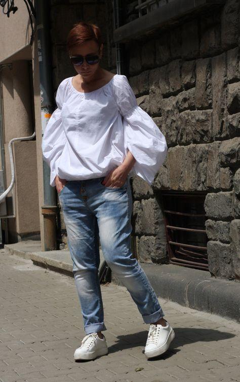 Women's shirt/Extravagant shirt/White blouse/Long by CARAMELfs https://www.etsy.com/listing/293615571/womens-shirtextravagant-shirtwhite