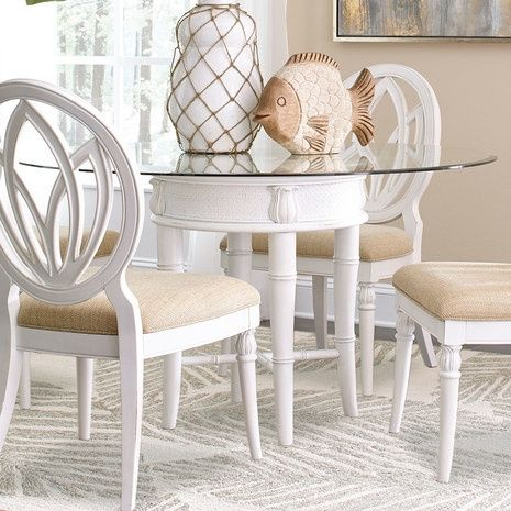 Bamboo Motif White Glass Top Dining Table Glass Top Dining Table