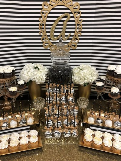 60th Birthday Candy Table Kate Spade Inspired Candy Buffet Black Gold And White Great Gatsby Roar Gold Candy Buffet Birthday Candy Table White Candy Buffet