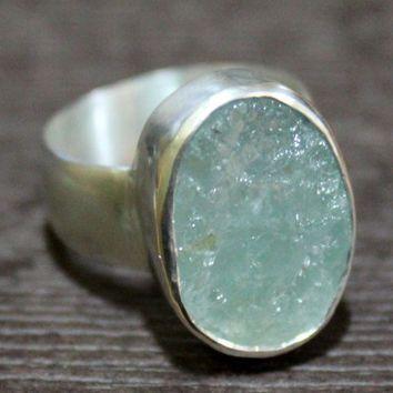 raw crystal ringraw aquamarine ringrough aquamarine ring silver aquamarine ringrough stone ringraw gemstone ringhealing jewelry by HANDMADEJEWELSSTORE USD)