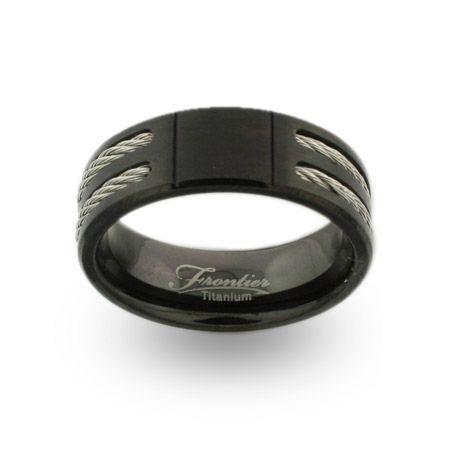 Black Titanium Engravable Signet Ring With Double Cable Inlay Black Titanium Rings Mens Wedding Rings Unique
