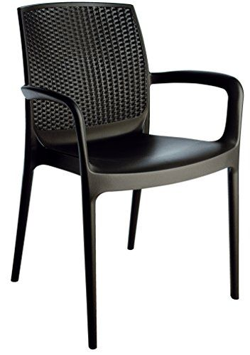 Stackable Patio Dining Armed Chair Black 4 Piece Set Heavy