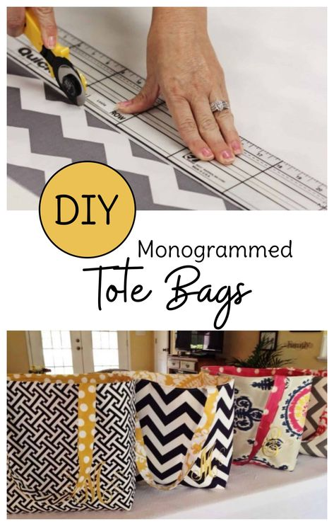 Looking for sewing projects for beginners? Make your own DIY tote bags with this free tote bag pattern. Monogram optional, but cute! via sew projects Handmade Tote Bag Pattern for an Easy DIY Tote Bag Diy Monogram, Monogram Tote Bags, Diy Tote Bag, Tote Bags Handmade, Quilted Tote Bags, Canvas Tote Bags, Sewing Hacks, Sewing Tutorials, Sewing Tips