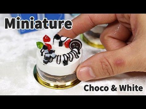 미니어쳐 초코 앤 화이트 케이크(파리바게트) - Miniature cake - YouTube