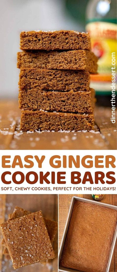 Ginger Bars are chewy cookie bars full of gingerbread flavor, perfect Christmas treats! #dessert #holiday #holidaybaking #christmasbaking #gingercookies #cookiebars #dinnerthendessert