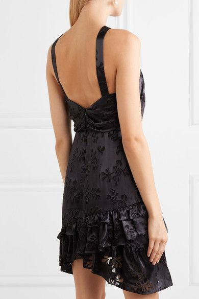 Faye Ruffled Satin-jacquard Mini Dress - Purple Saloni gHXOt
