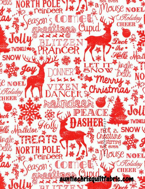 Jolly Red Reindeer /& Word Patch Timeless Treasures YARD Christmas Fabric