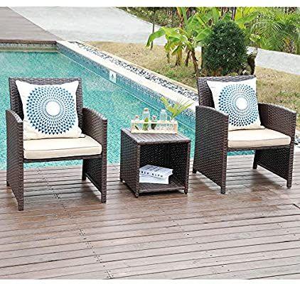 Amazon Com Joivi 3 Piece Patio Set Outdoor Pe Wicker Rattan Chairs Patio Furniture Conversa Backyard Furniture Decor 3 Piece Patio Set Garden Patio Furniture