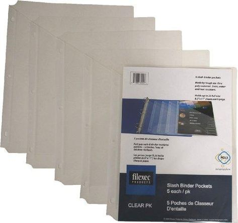 Filexec Binder Pocket, 3-Hole Punched, Letter Size,Clear (6 Packs of 5) (50106-30204) - Clear