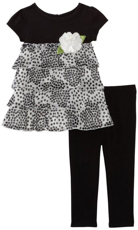 Amazon.com: Sweet Heart Rose Girls 2-6X vestido de lunares con Legging, Negro / Blanco, 4: Vestimenta
