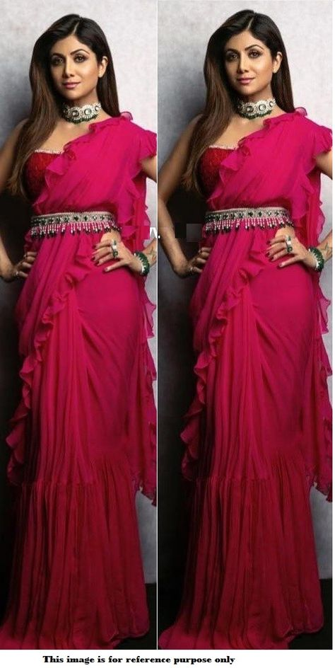 Buy Bollywood Shilpa Shetty Pink Georgette Ruffle sareein UK, USA and Canada WhatsApp us for Purchase & Inquiry : Buy Best Designer Collection from padukon