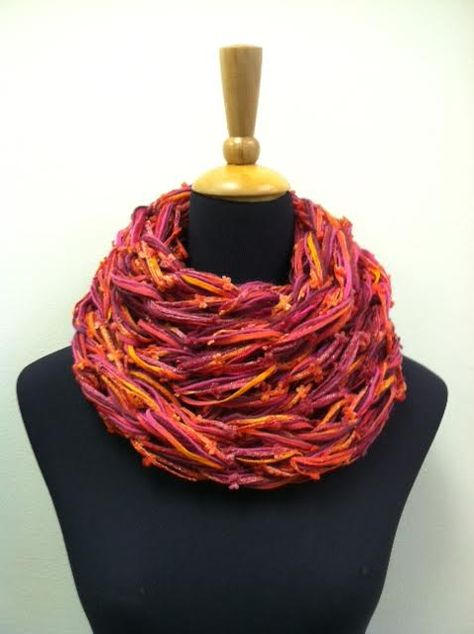 Arm knit cowl inspired by funky, chunky garments seen in stores.