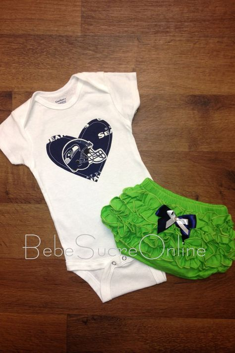 Seahawks Outfit by BebeSucreOnline on Etsy, $30.00- this is better, no headband