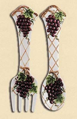 Amazon Com Grape 2 Pc Large 17 Spoon Fork Wall Decor Set New