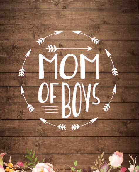Mom of Boys with arrow circle Vinyl Decal Sticker - 9 x 9 / Royal Blue