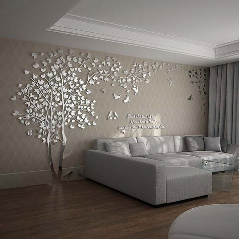 N Sunforest 3d Crystal Acrylic Couple Tree Wall Stickers Silver Self Adhesive Diy Wall Mu Living Room Wall Designs Wallpaper Living Room Wall Decor Living Room