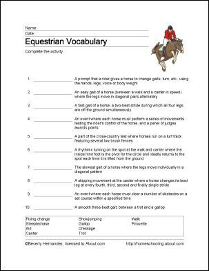 Equestrian Printables Wordsearch Horse Lessons Riding Lessons
