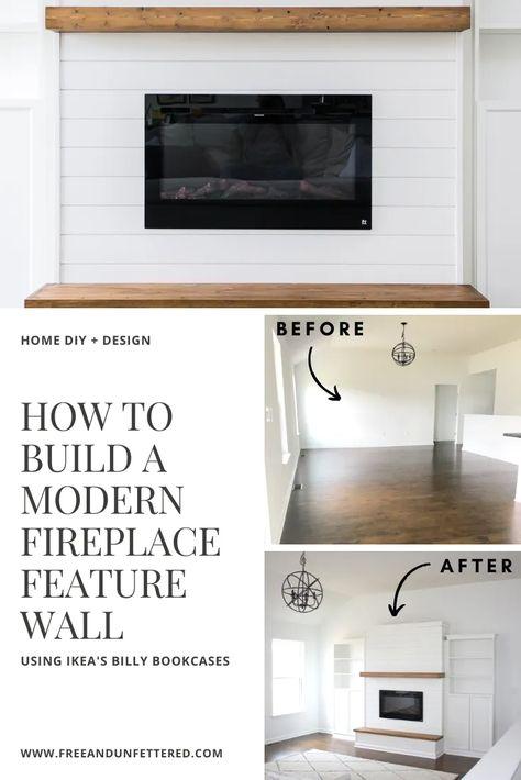 Fireplace Feature Wall, Build A Fireplace, Fireplace Built Ins, Shiplap Fireplace, Fireplace Hearth, Home Fireplace, Fireplace Design, Fireplace Modern, Fireplace Ideas