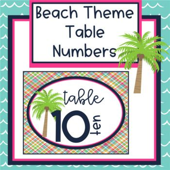 Freebie Beach Theme Decor Table Numbers With Images Beach