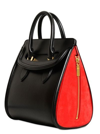 Alexander Mcqueen Large E Leather Suede Tote Bag In Black Red Lyst