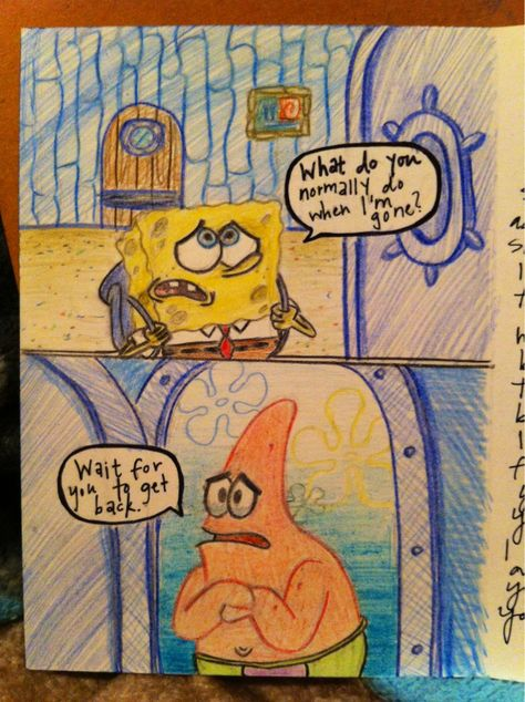 What I drew on the inside of a card to my best friend that moved away to a different state. We love Spongebob! - What I drew on the inside of a card to my best friend that moved away to a different state. Bff Gifts, Cute Gifts, Gifts For Friends, Friend Moving Away Gifts, Sister Gifts, Best Friend Presents, Funny Best Friend Gifts, Best Friend Crafts, Moving Gifts