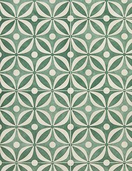 Sol Vinyle Cosmolike Aspect Carreau Floral Vert Rouleau 4 M