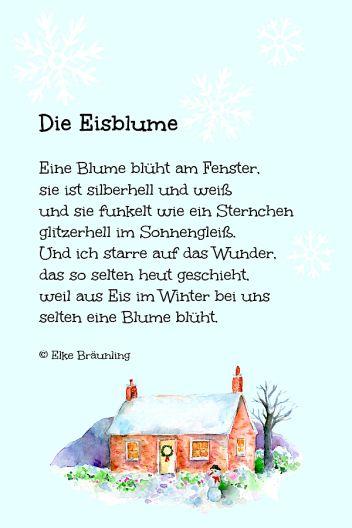 Die Eisblume Winterzeit Kinder Gedichte Kindergedichte Kurze Weihnachtsgeschichte