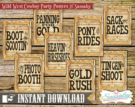 Cowboy Game/Party Posters - INSTANT DOWNLOAD - Wild West Party Decorations by Sassaby