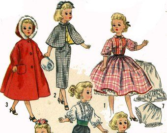 Vintage Doll Clothes PATTERN 2255 for 12 in Revlon Cindy Missy Toni by Sweet Sue