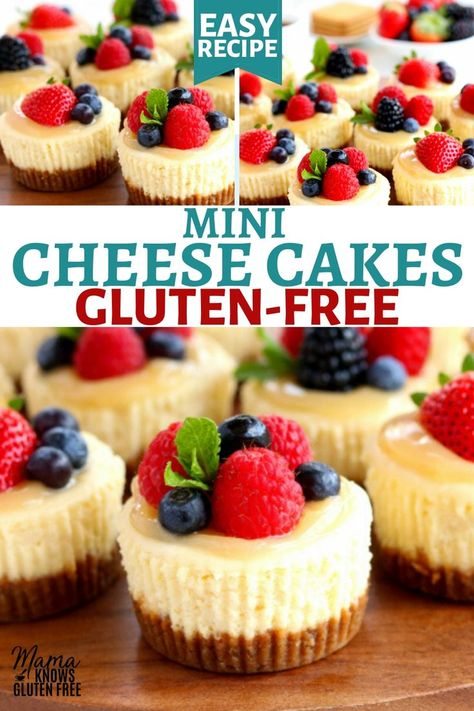 An easy recipe for Gluten-Free Cheesecakes. These mini cheesecakes are baked in just 20 minutes. This gluten-free dessert has all the flavor of a gluten-free cheesecake without all the time and work. Cheesecake Sem Lactose, Dairy Free Cheesecake, Mini Cheesecake Recipes, Mini Cheesecake Cupcakes, Cheesecake Bites, Gluten Free Sweets, Gluten Free Cakes, Dairy Free Recipes, Gluten Free Xmas Baking