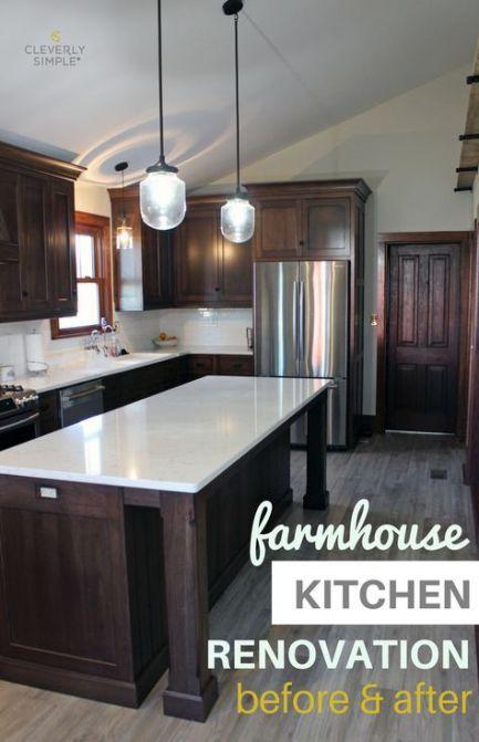 42 Trendy Kitchen Dark Cabinets Grey Floor White Counters Dark Wood Kitchen Cabinets Kitchen Renovation Dark Kitchen Cabinets