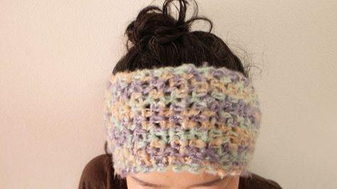 ヘアバンドの作り方をご紹介します 鎖編みと細編みで編むよね編み よく伸びるので便利です 頭を締め付けると 頭痛になってしまうので かぎ編みのやさしいフィット感がめっちゃ気に入ってます キャンドゥのモヘアっぽい糸で編みました 1 ヘアバンド