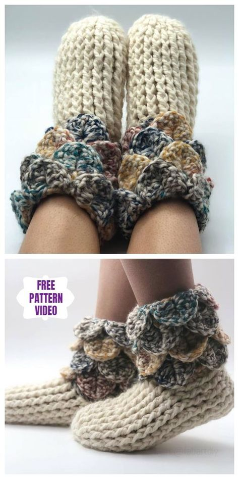 Crochet Crocodile Stitch Slipper Boots Free Crochet Pattern - Video - Crochet and Knitting Patterns