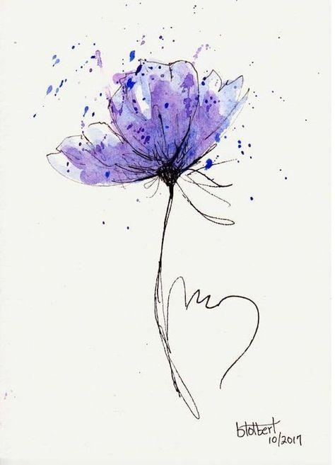 Blume zeichnen lernen, zeichnen mit Bleistift, lila Blume zum Nachmalen für Anfänger